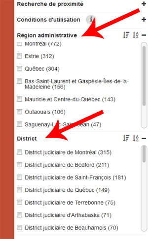 Filtres 'Région administrative' et 'District' mis en valeur.